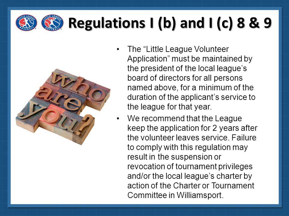 Regulations I (b) and I (c) 8 & 9