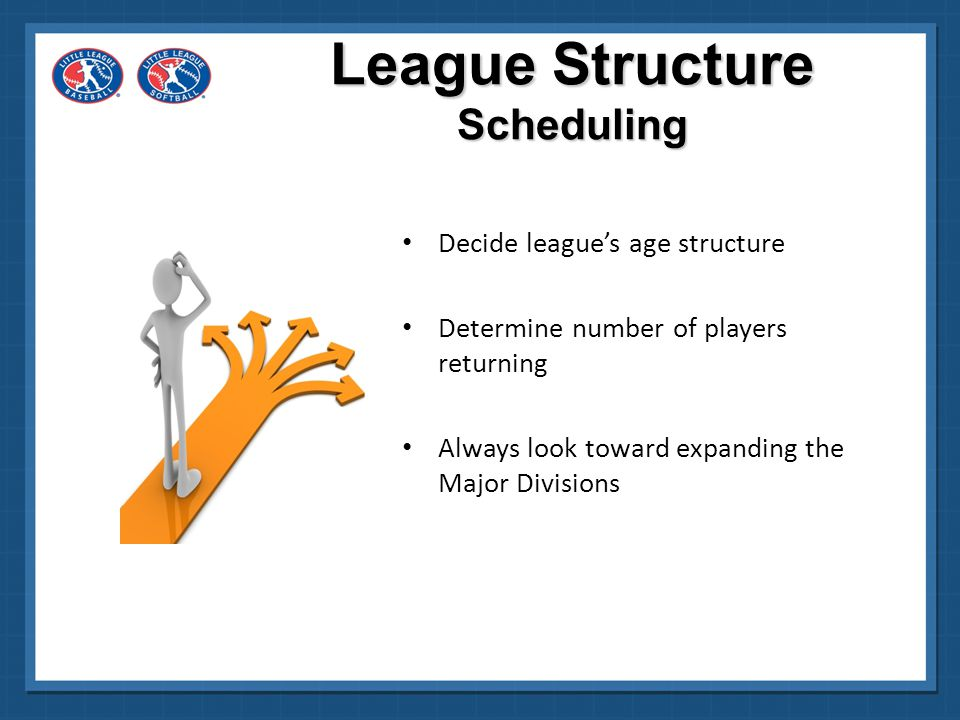 League Structure Scheduling Decide league's age structure