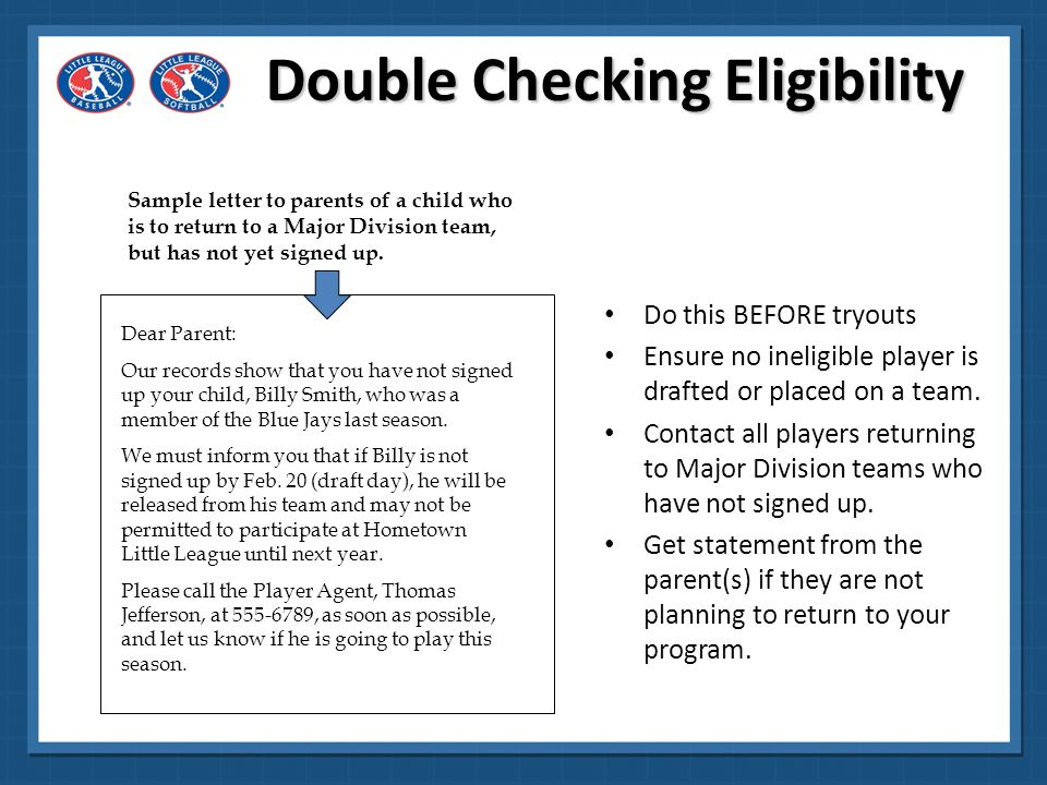 Double Checking Eligibility