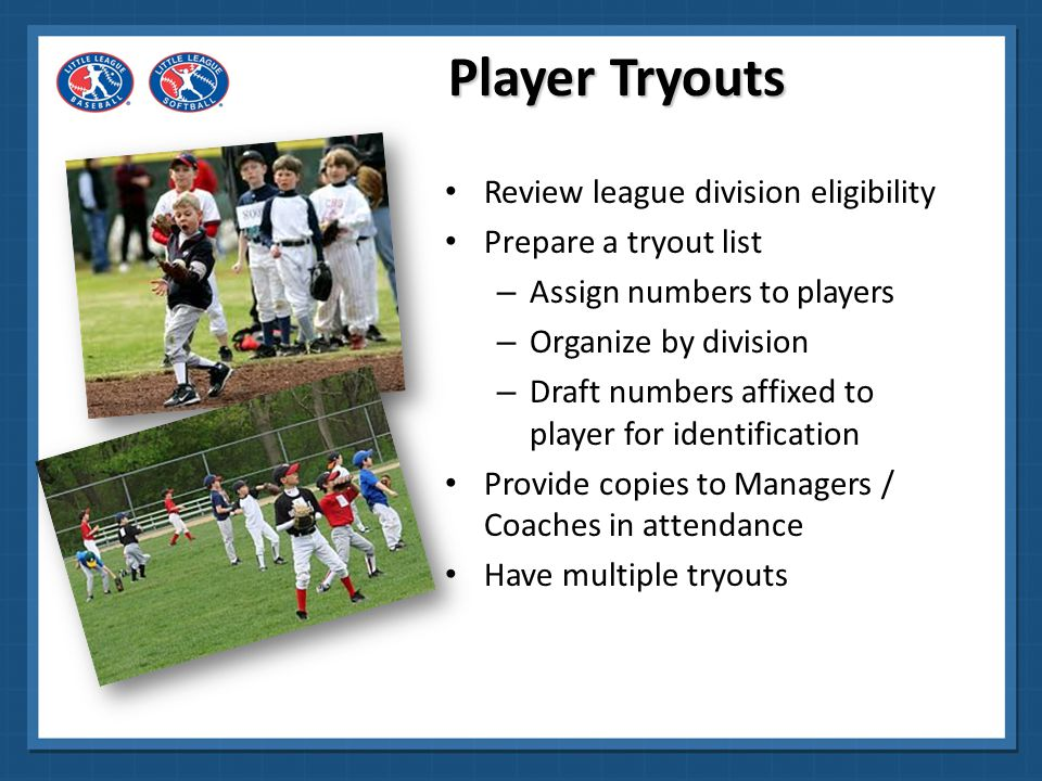 Player Tryouts Review league division eligibility