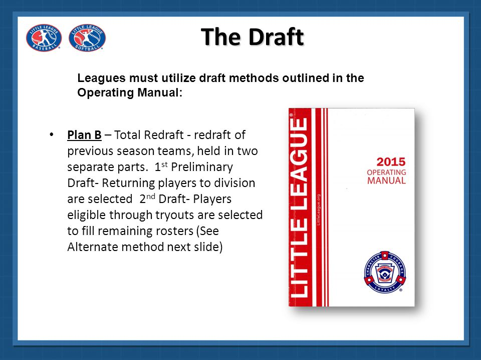 The Draft Leagues must utilize draft methods outlined in the Operating Manual: