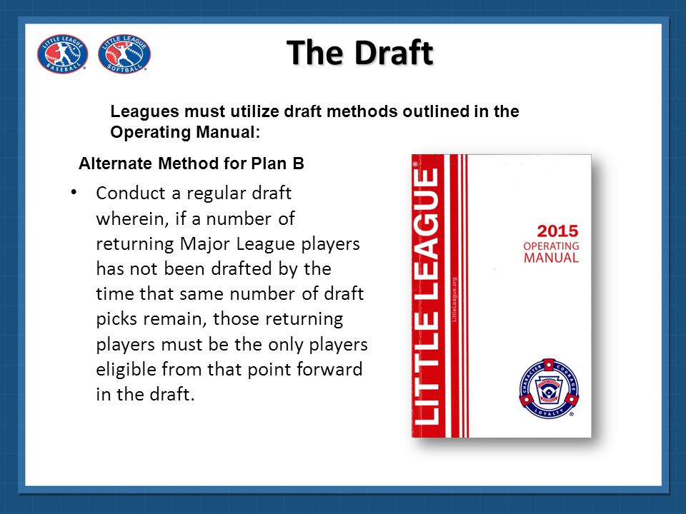 The Draft Leagues must utilize draft methods outlined in the Operating Manual: Alternate Method for Plan B.