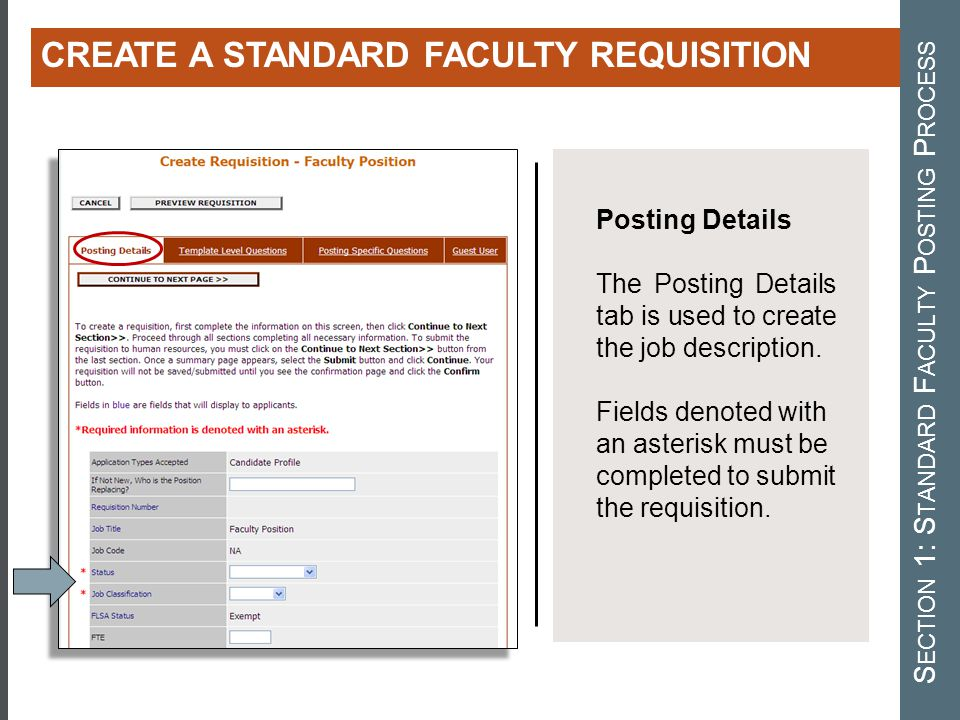 Section 1: Standard Faculty Posting Process