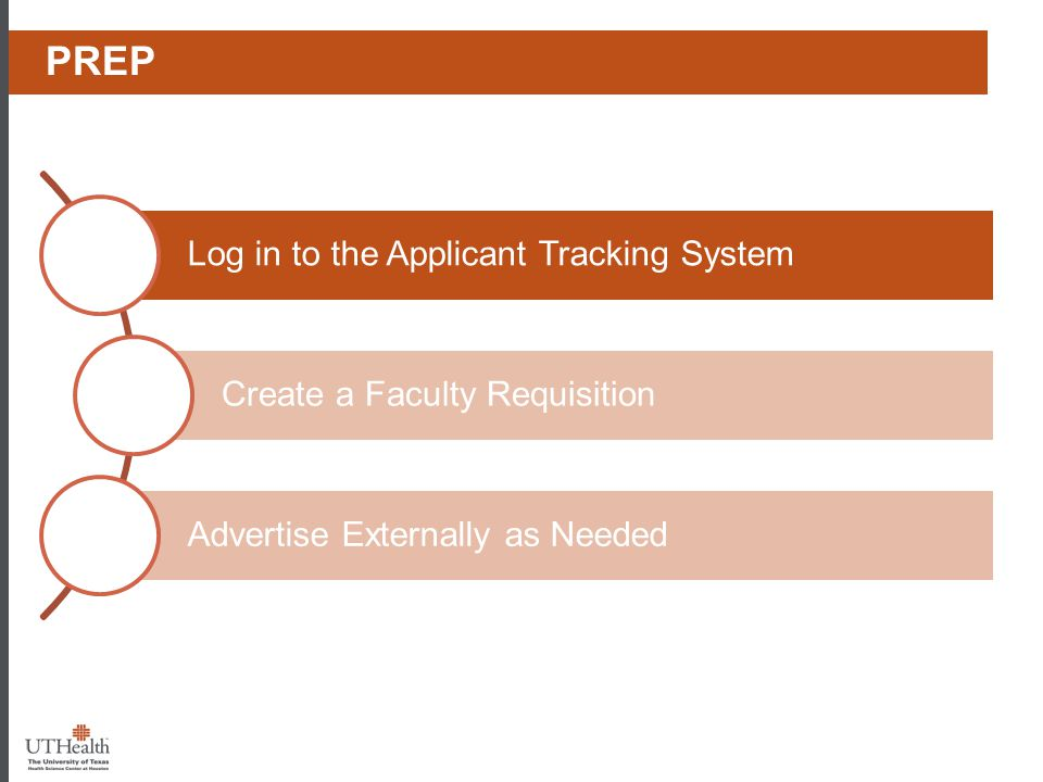 Phase I - Prep Prep Log in to the Applicant Tracking System