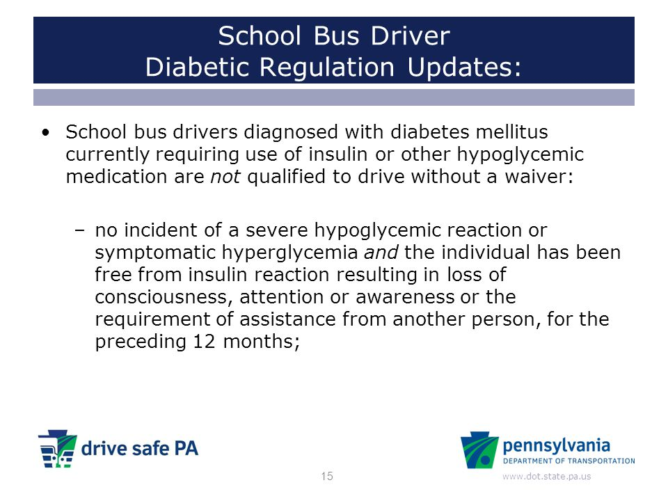 School Bus Driver Diabetic Regulation Updates: