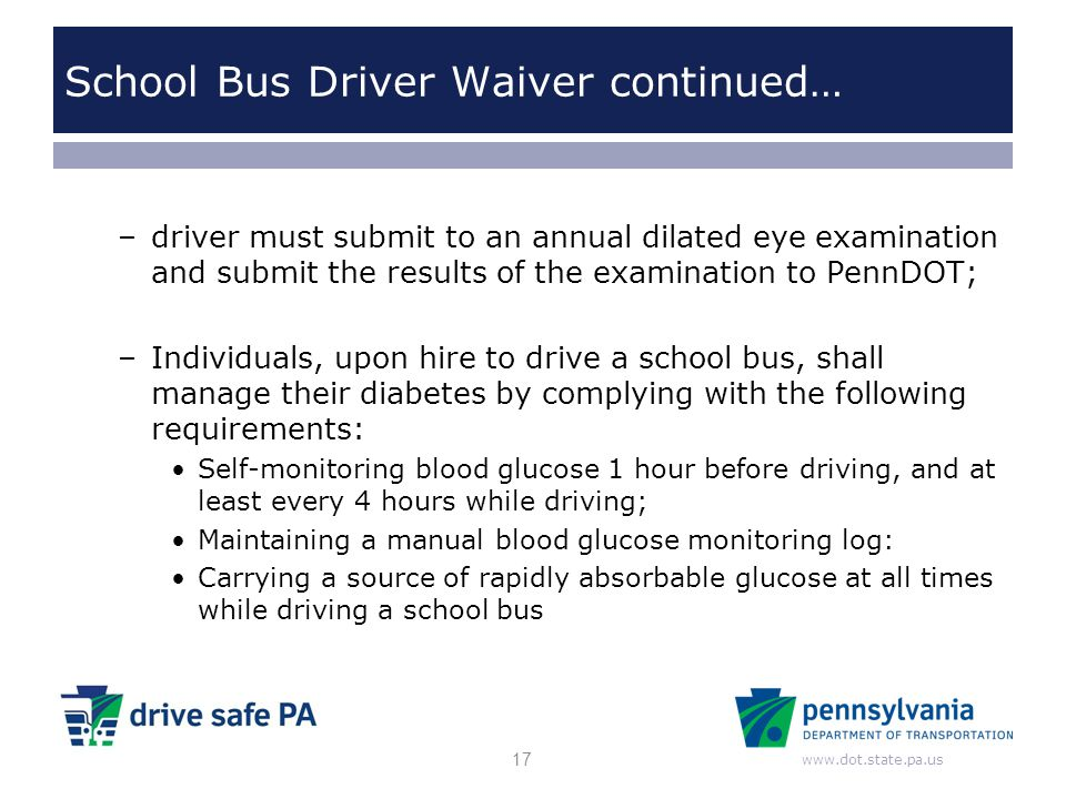 School Bus Driver Waiver continued…