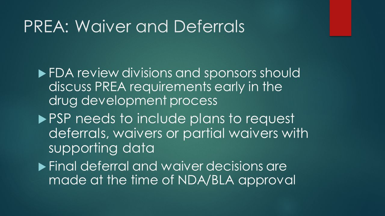 PREA: Waiver and Deferrals