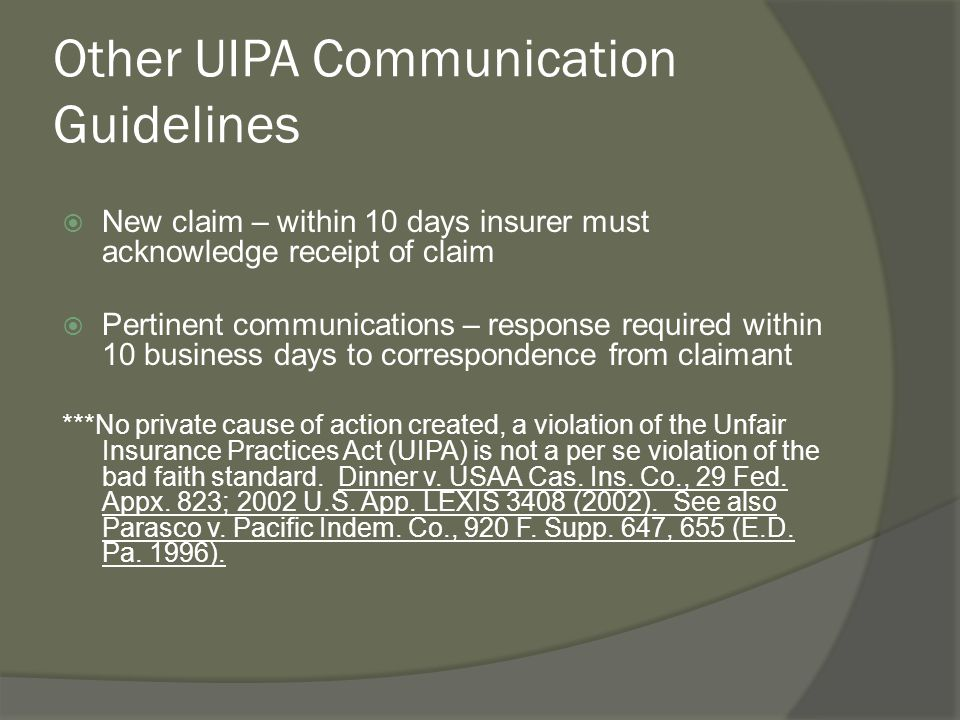 Other UIPA Communication Guidelines