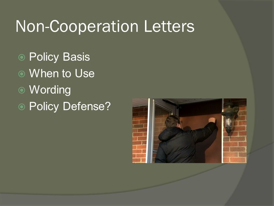 Non-Cooperation Letters
