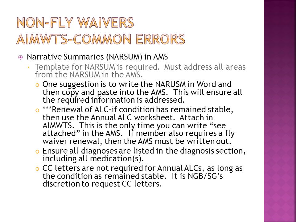 Non-Fly Waivers AIMWTS-Common Errors