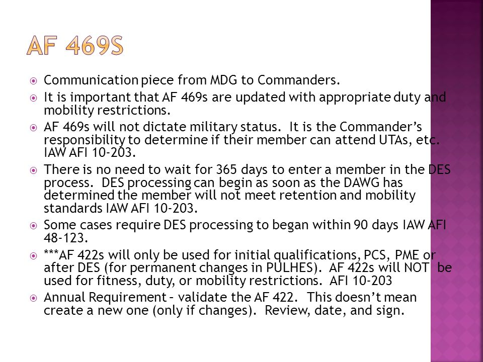 AF 469s Communication piece from MDG to Commanders.