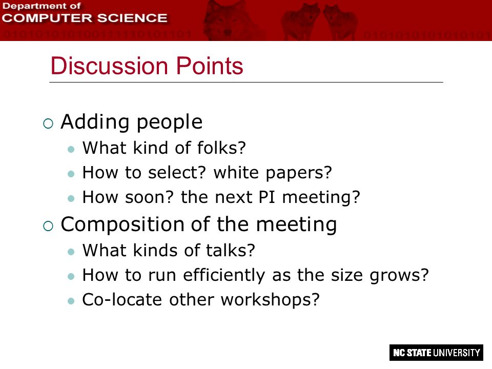 Discussion Points Adding people Composition of the meeting
