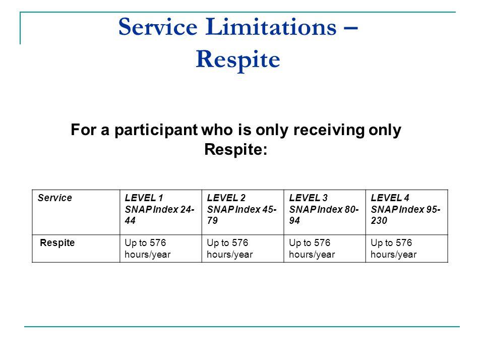 Service Limitations – Respite