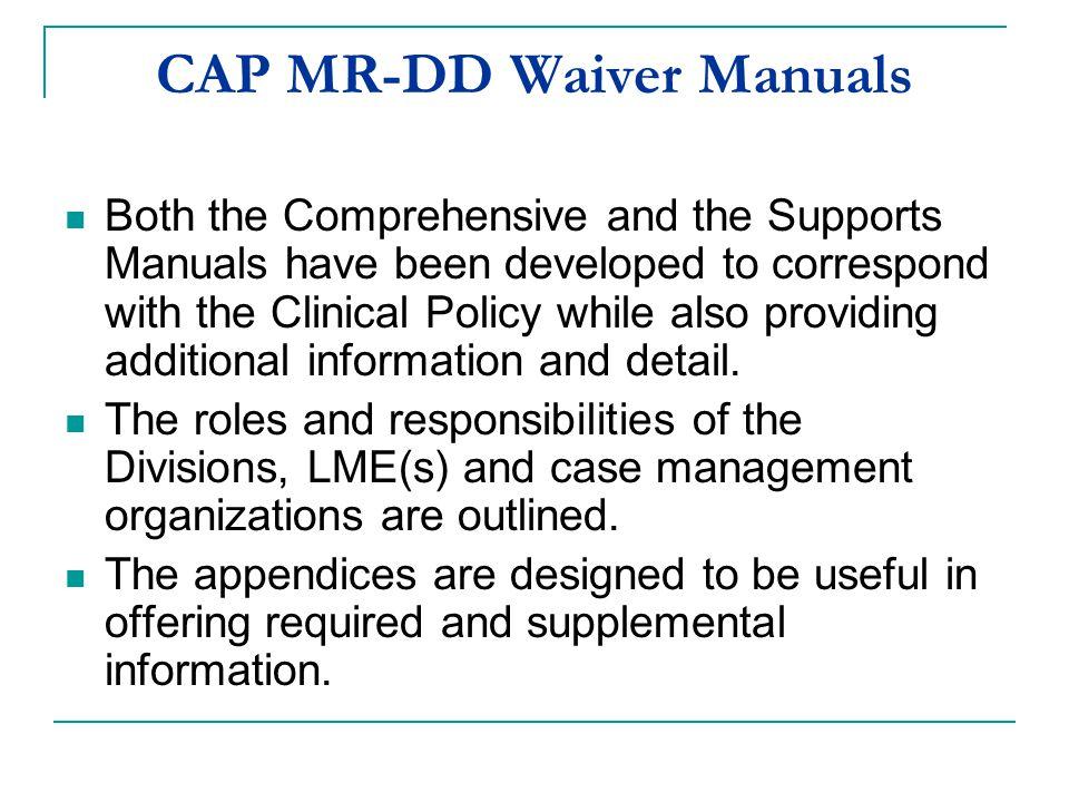 CAP MR-DD Waiver Manuals
