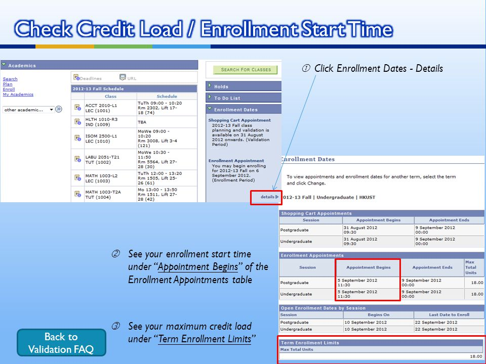Check Credit Load / Enrollment Start Time