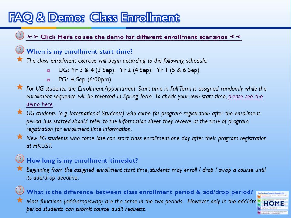 FAQ & Demo: Class Enrollment