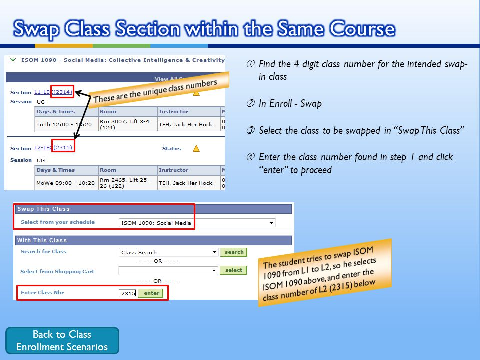 Swap Class Section within the Same Course