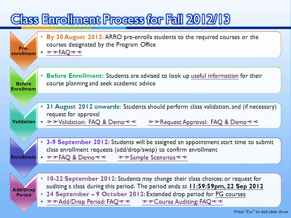 Class Enrollment Process for Fall 2012/13