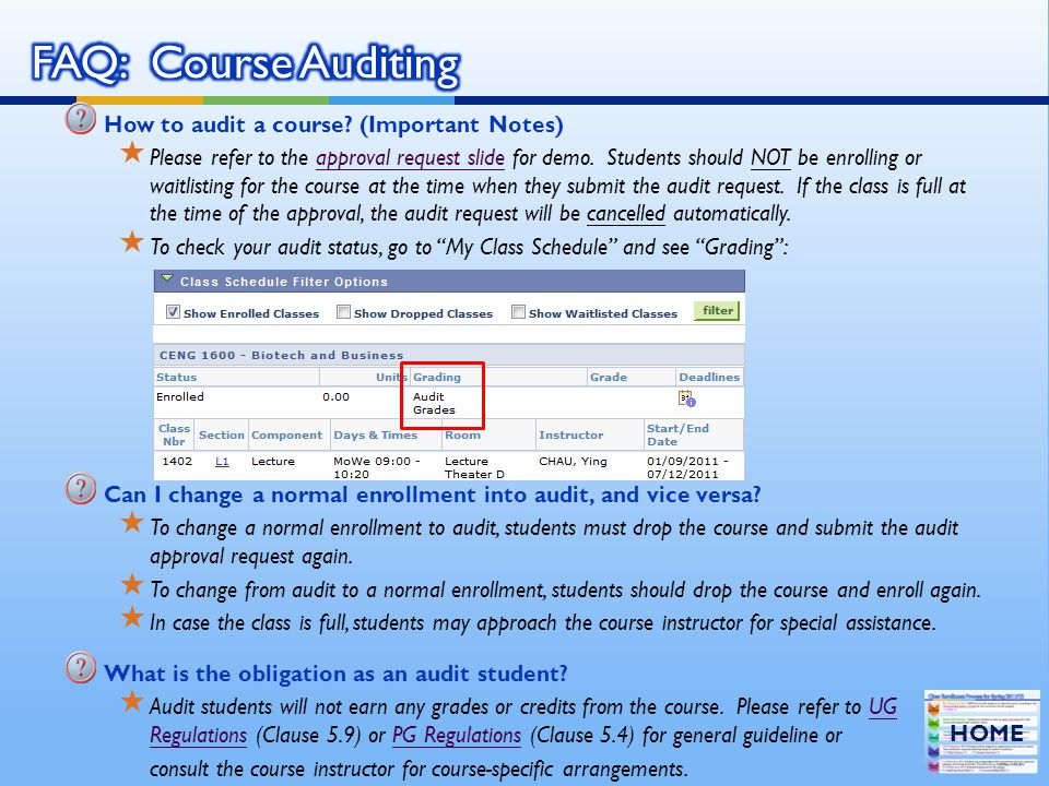FAQ: Course Auditing How to audit a course (Important Notes)