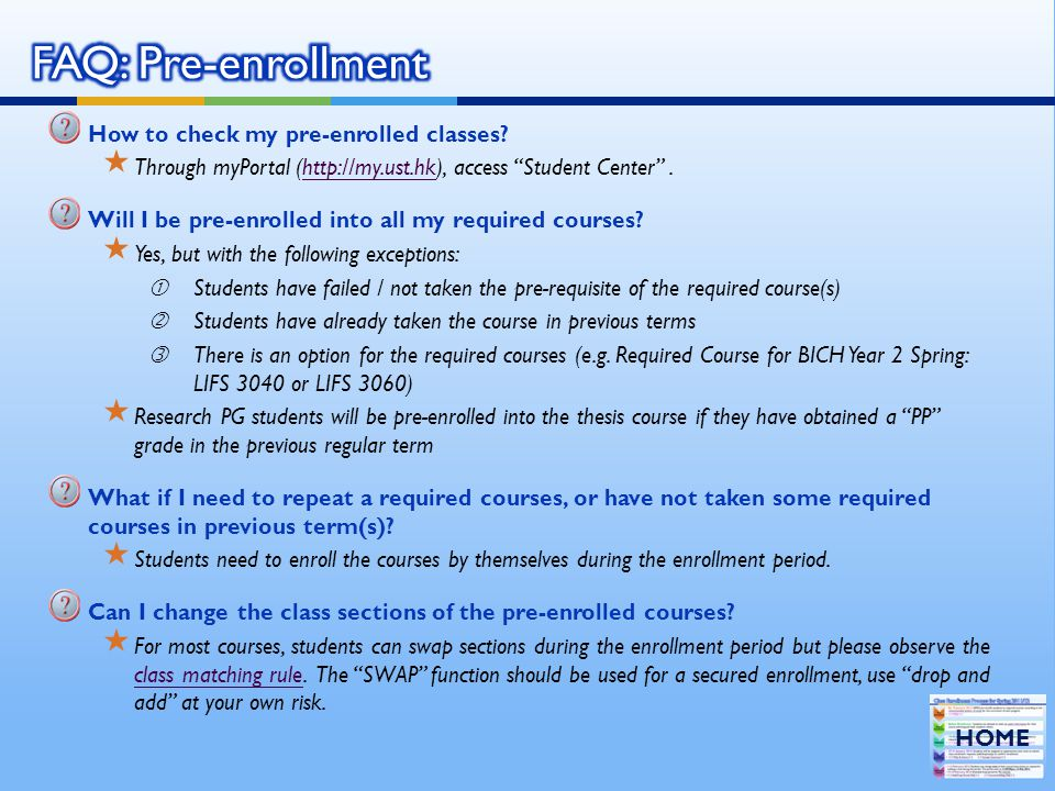 FAQ: Pre-enrollment How to check my pre-enrolled classes