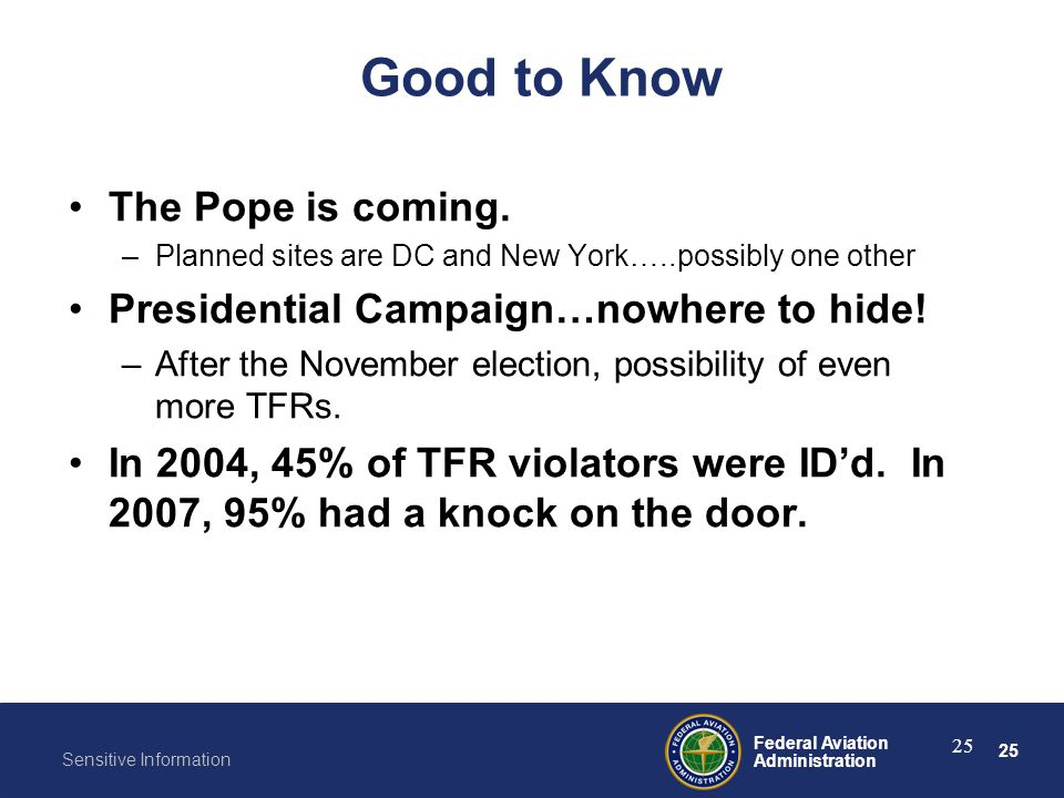 Good to Know The Pope is coming.