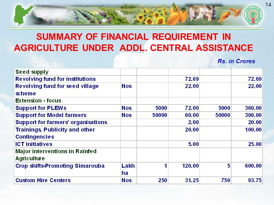 SUMMARY OF FINANCIAL REQUIREMENT IN AGRICULTURE UNDER ADDL