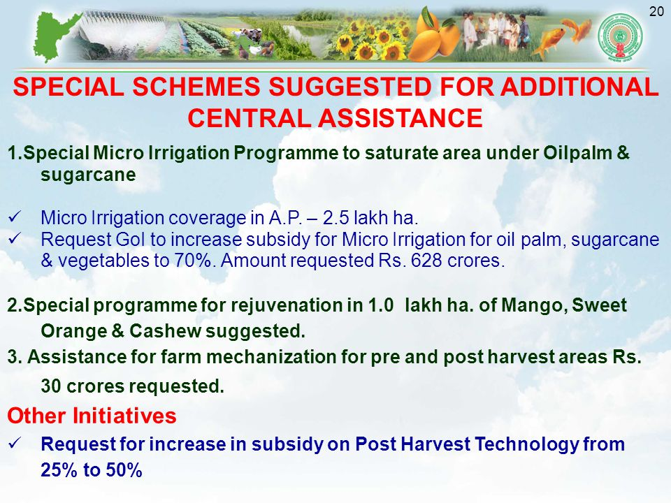 SPECIAL SCHEMES SUGGESTED FOR ADDITIONAL CENTRAL ASSISTANCE