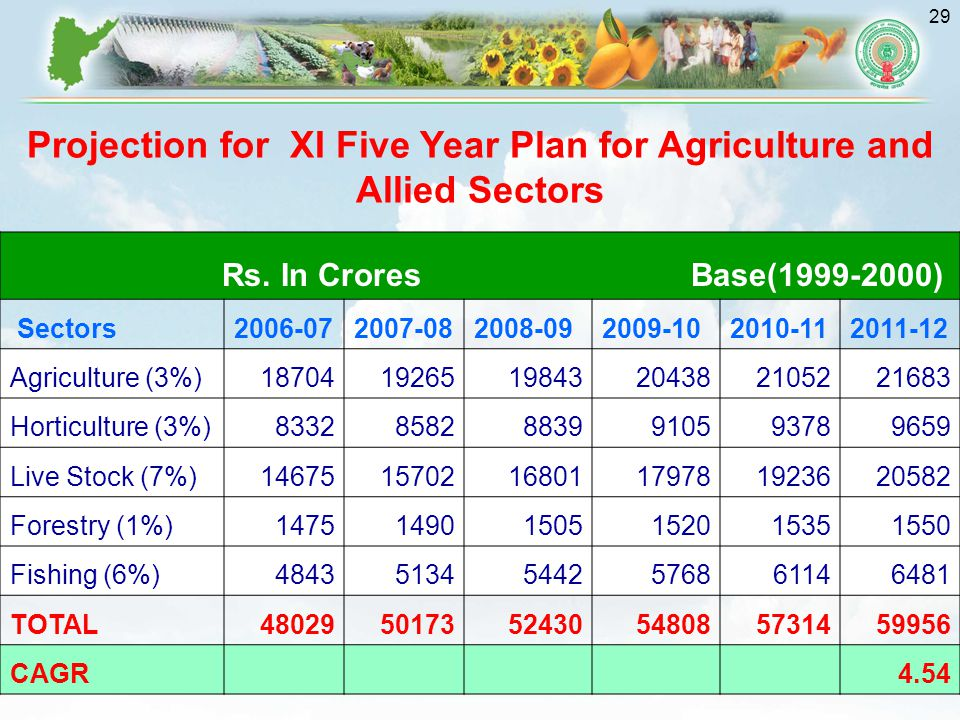Projection for XI Five Year Plan for Agriculture and Allied Sectors