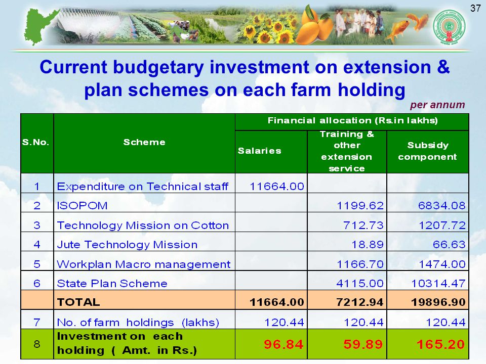 Current budgetary investment on extension & plan schemes on each farm holding