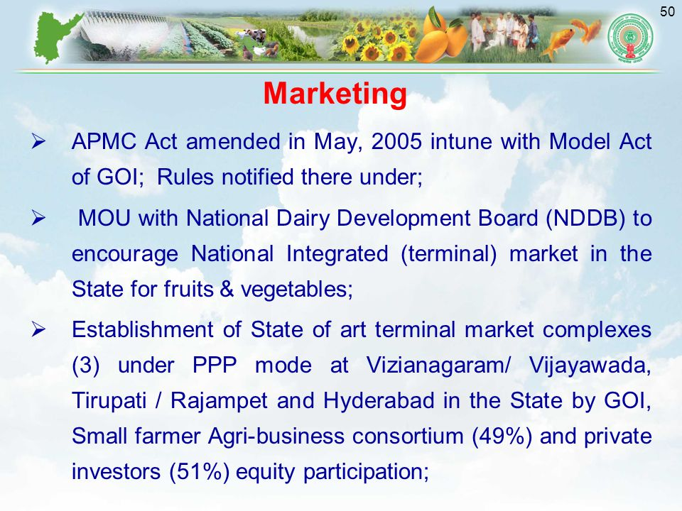 Marketing APMC Act amended in May, 2005 intune with Model Act of GOI; Rules notified there under;