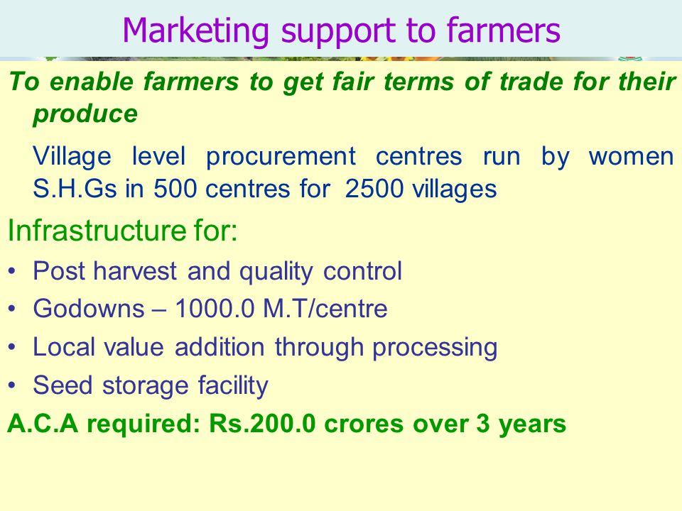 Marketing support to farmers