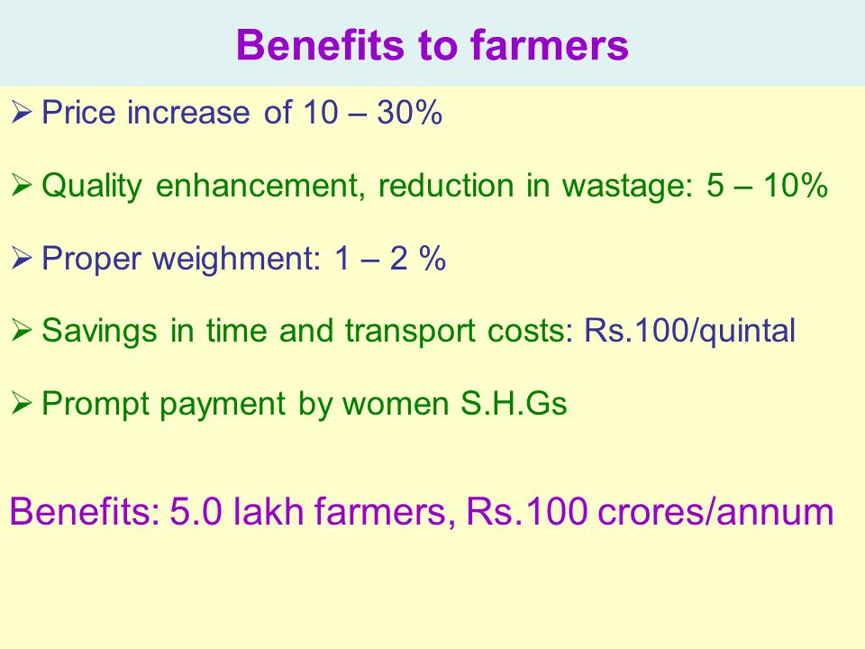 Benefits to farmers Benefits: 5.0 lakh farmers, Rs.100 crores/annum