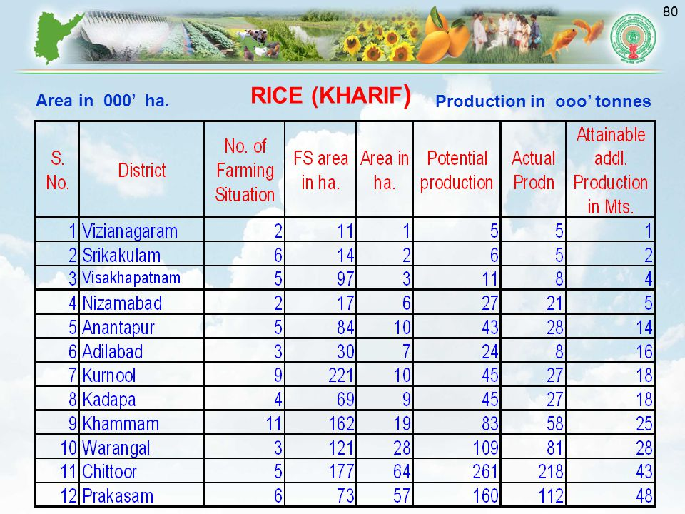 RICE (KHARIF) Production in ooo' tonnes Area in 000' ha.