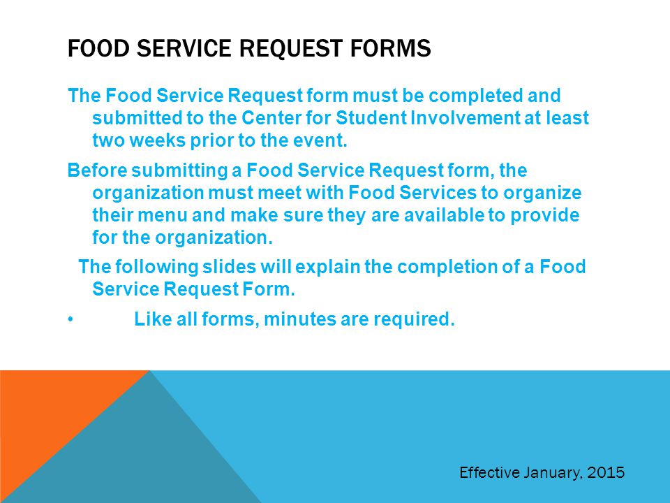 Food service request forms