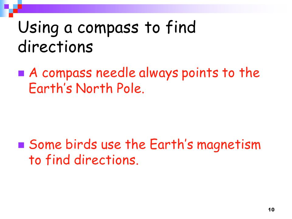 Using a compass to find directions