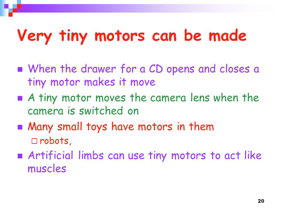 Very tiny motors can be made
