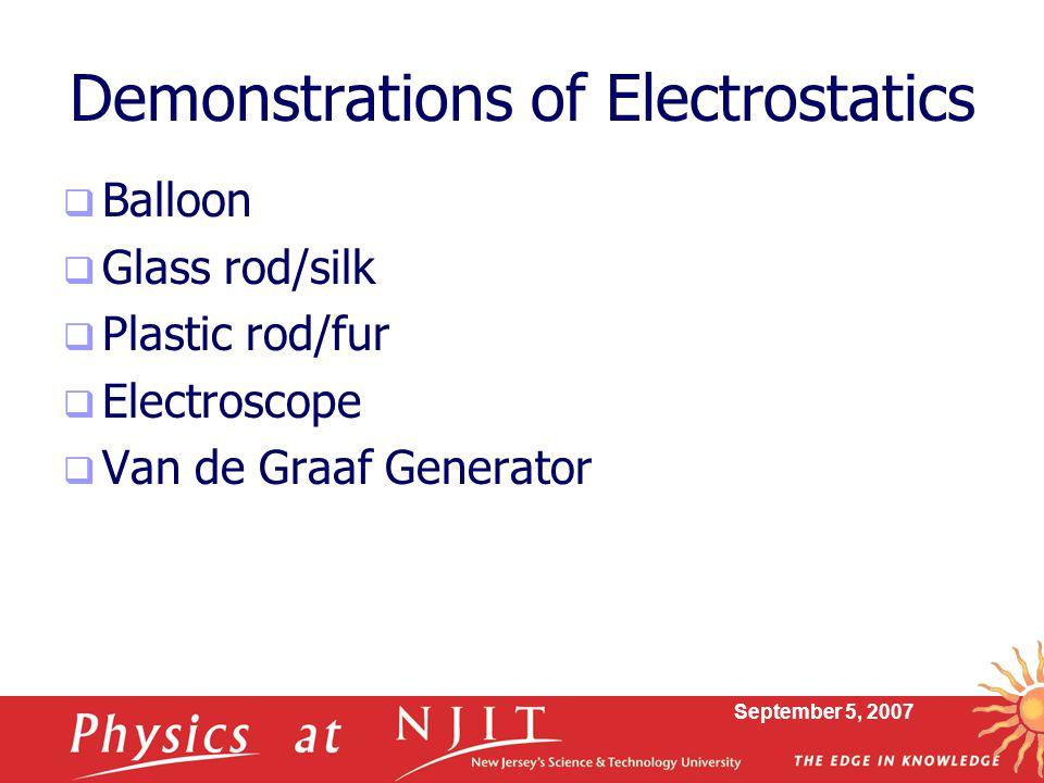 Demonstrations of Electrostatics
