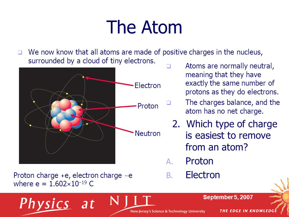 The Atom 2. Which type of charge is easiest to remove from an atom