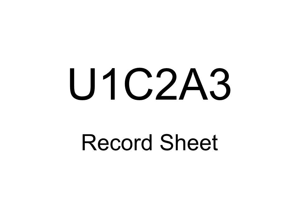 U1C2A3 Record Sheet