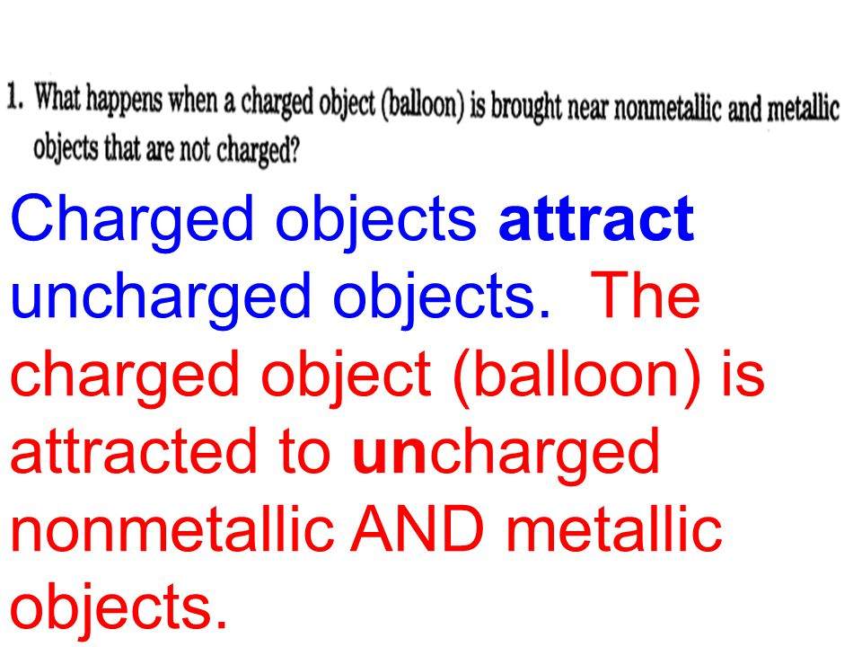 Charged objects attract uncharged objects