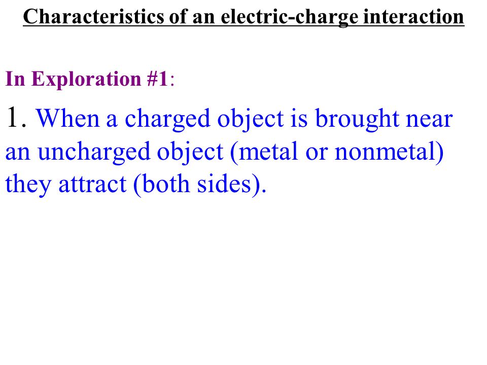 Characteristics of an electric-charge interaction