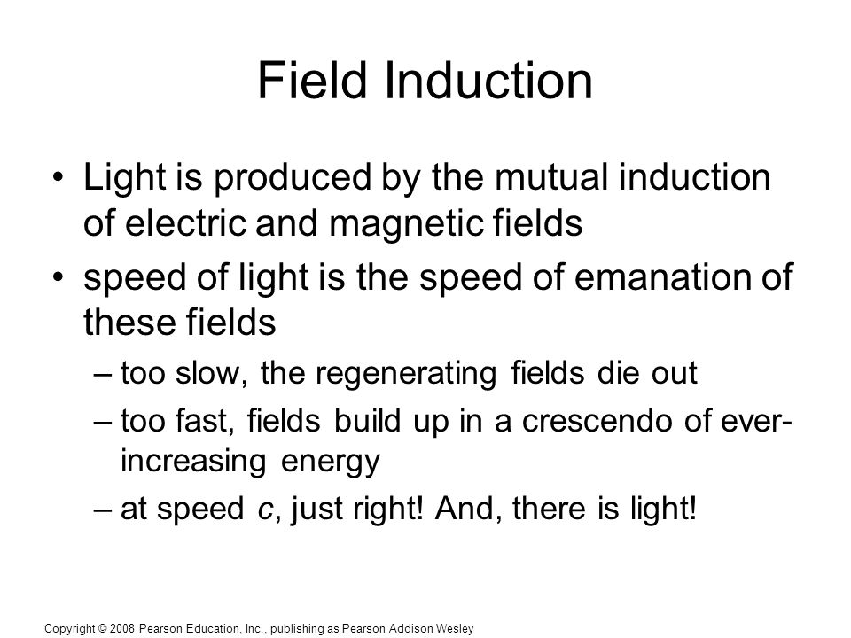 Field Induction Light is produced by the mutual induction of electric and magnetic fields. speed of light is the speed of emanation of these fields.