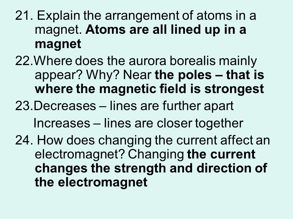 21. Explain the arrangement of atoms in a magnet