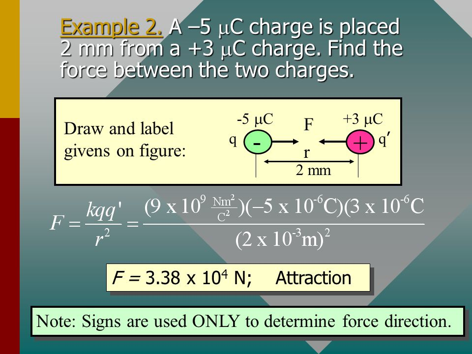 Example 2. A –5 mC charge is placed 2 mm from a +3 mC charge
