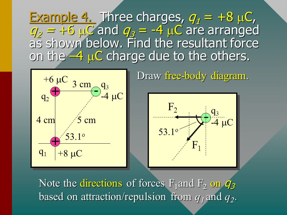 Example 4. Three charges, q1 = +8 mC, q2 = +6 mC and q3 = -4 mC are arranged as shown below. Find the resultant force on the –4 mC charge due to the others.