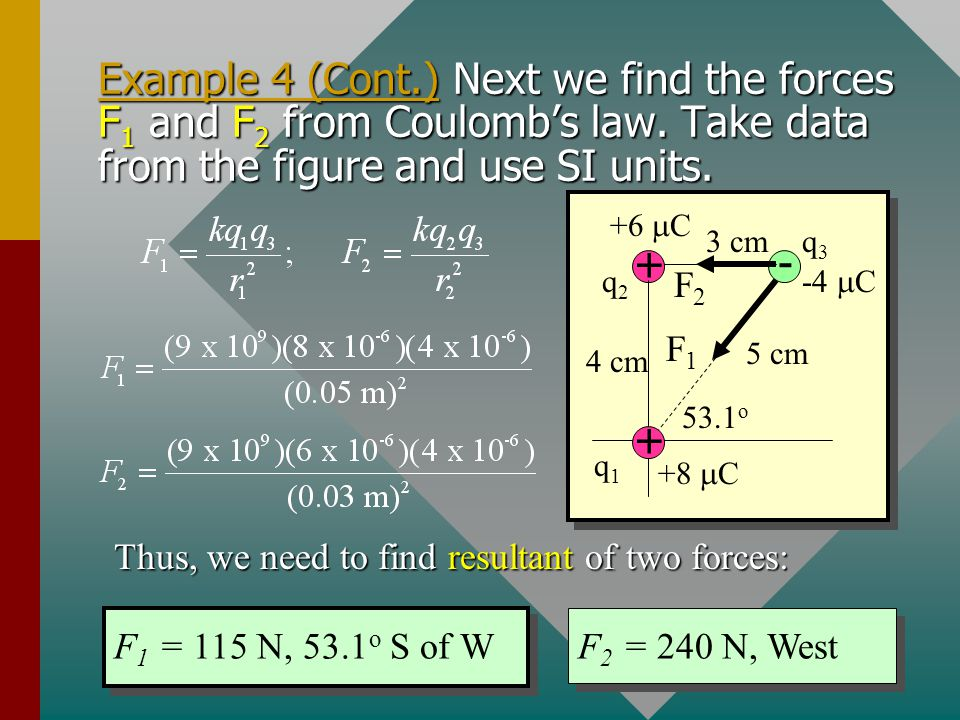 Example 4 (Cont.) Next we find the forces F1 and F2 from Coulomb's law. Take data from the figure and use SI units.