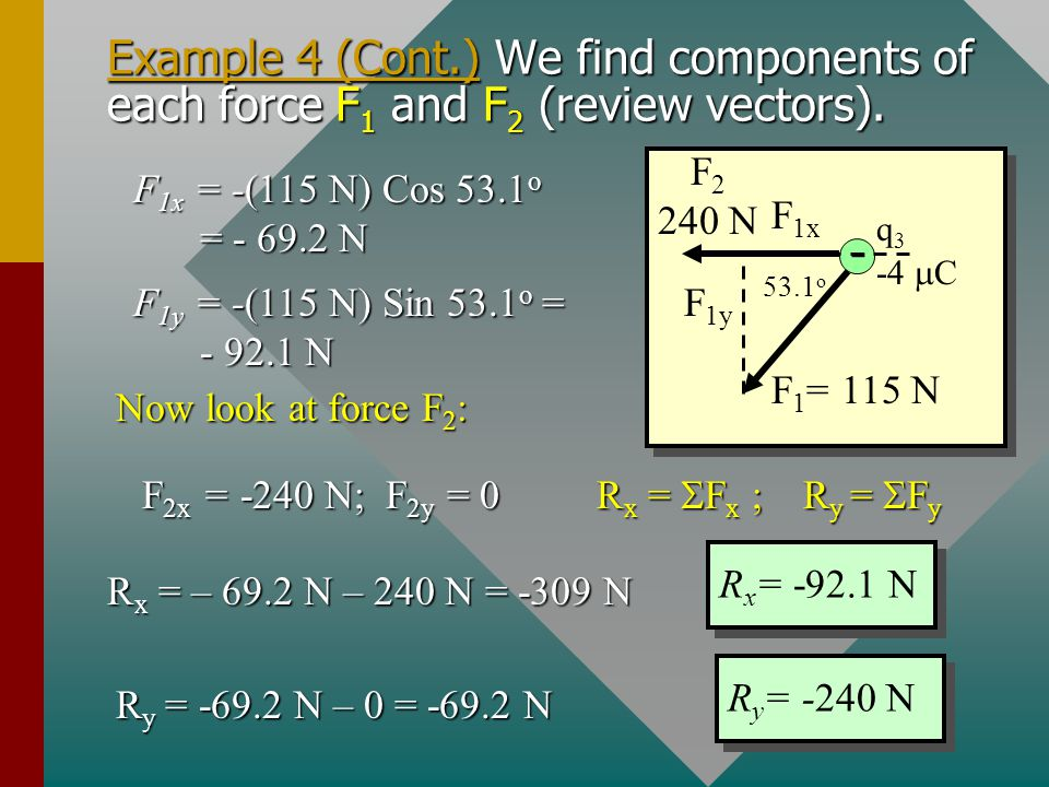 Example 4 (Cont.) We find components of each force F1 and F2 (review vectors).