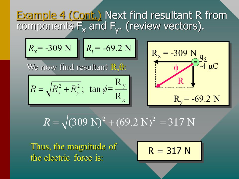 Example 4 (Cont. ) Next find resultant R from components Fx and Fy
