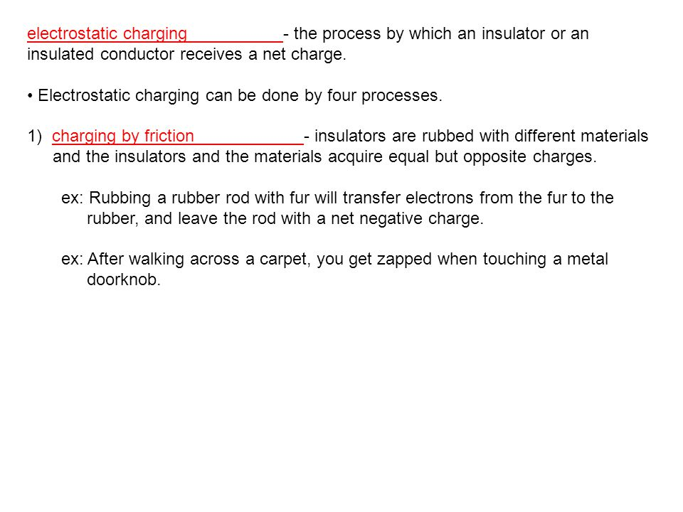 electrostatic charging - the process by which an insulator or an insulated conductor receives a net charge.