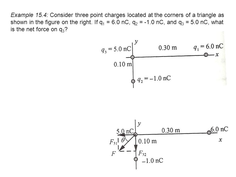 Example 15.4: Consider three point charges located at the corners of a triangle as shown in the figure on the right.